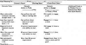 Table 1—Assessment Form for Goal Achievement*